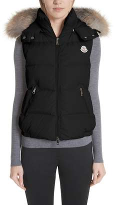 Moncler Gallinule Quilted Down Vest with Detachable Genuine Fox Fur Trim Hood
