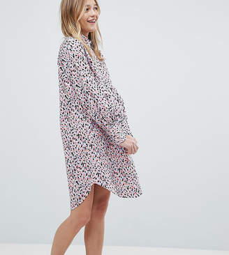 Monki Smudge Print Shirt Dress