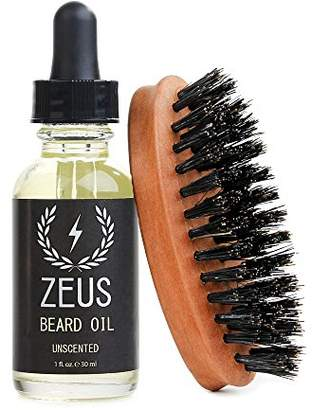 Zeus Beard Oil Natural Conditioner Softener Kit With 100% Boar Bristle Brush