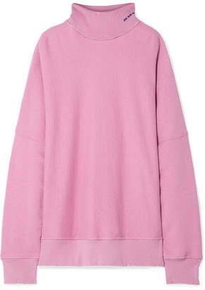 Calvin Klein Oversized Embroidered Distressed French Cotton-terry Turtleneck Sweatshirt - Baby pink