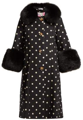 Saks Potts - Yvonne Single Breasted Polka Dot Wool Coat - Womens - Black White