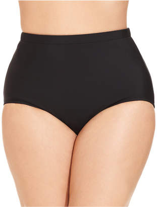 Swim Solutions Plus Size High-Waist Swim Brief Bottoms, Created for Macy's Women's Swimsuit