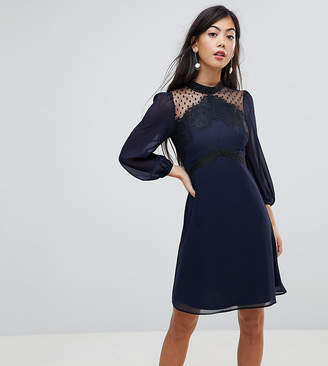 Elise Ryan Petite High Neck Skater Dress With Lace Detail