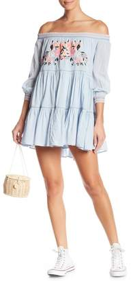 Free People Sunbeams Embroidered Off-the-Shoulder Mini Dress