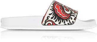 RED Valentino Cherry, Ivory and Black Floral Baroque Printed Leather Slide Sandals