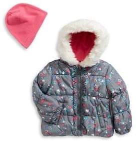 London Fog F.O.G. by Baby Girl's Printed Puffer Jacket Hat Set
