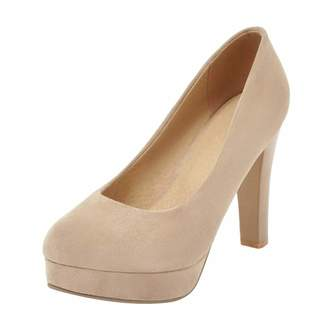 c20901523d1 CarziCuzin Women Classic Platform Slip On Pumps Block High Heel Synthetic  Suede Almond Toe Wedding Shoes