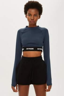 Ivy Park Long Sleeve Logo Tape Crop Top