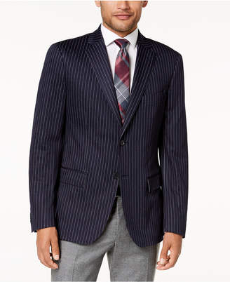 Ryan Seacrest Distinction Men's Modern-Fit Stretch Navy Pinstripe Knit Sport Coat, Created for Macy's