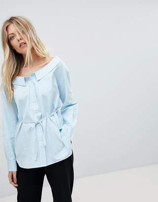 French Connection Off-Shoulder Stripe Shirt