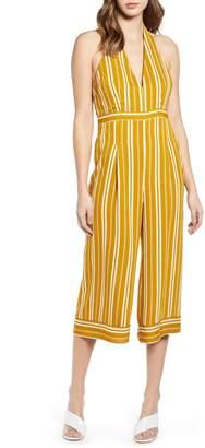 Leith Stripe Halter Top Wide Leg Crop Jumpsuit