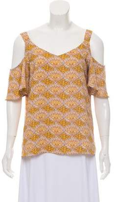 Adrienne Vittadini Cold-Shoulder Printed Top