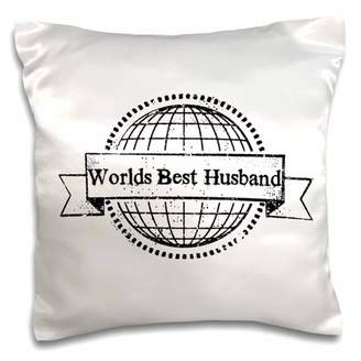 3dRose Worlds best Husband - White - Pillow Case, 16 by 16-inch