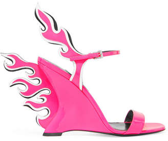 Prada Neon Patent-leather Wedge Sandals - Pink