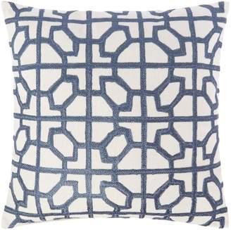 Linea Embroided tile cushion, blue