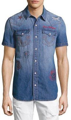 True Religion Printed Short-Sleeve Denim Western Shirt, Blue $169 thestylecure.com