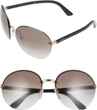 Prada 61mm Rimless Round Sunglasses
