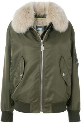 Yves Salomon Army detachable collar bomber jacket