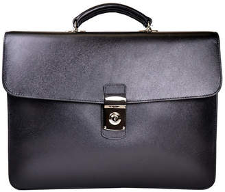 Royce Leather Royce New York Suede Lined Single Gusset Briefcase