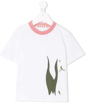 Marni contrast collar printed T-shirt