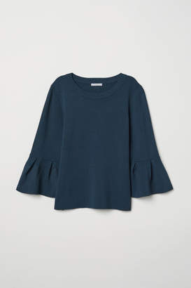H&M Flounce-sleeved Sweater - Turquoise