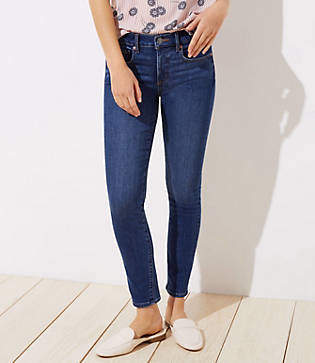 LOFT Petite Curvy Destructed Slim Pocket Skinny Jeans in Mid Indigo Wash