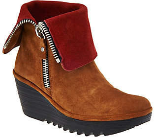 Fly London Suede Foldover Boots with Side Zip -Yex