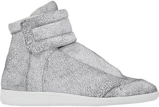 Maison Margiela MAISON MARGIELA MEN'S CRACKED LEATHER ANKLE-STRAP SNEAKERS-WHITE SIZE 9 M $940 thestylecure.com