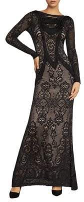 BCBGMAXAZRIA Fringe-Trimmed Lace Gown