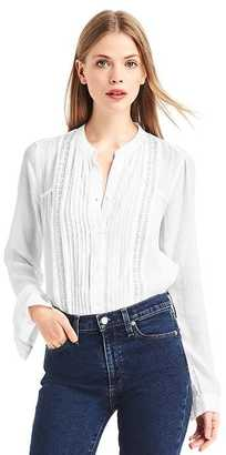 Lace-panel pintuck dobby blouse $59.95 thestylecure.com