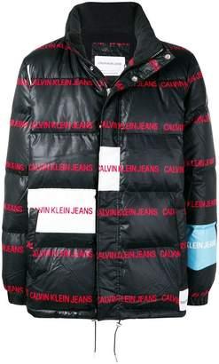 Calvin Klein Jeans logo print colourblock puffer jacket