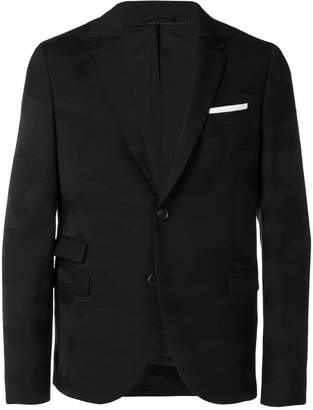 Neil Barrett contrast pocket square blazer