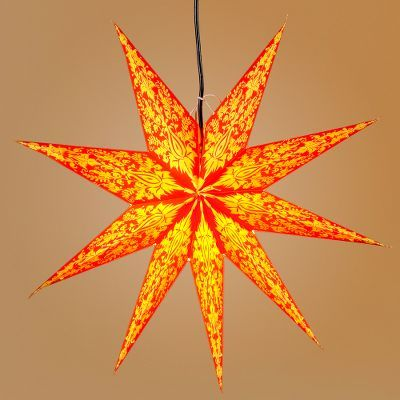 Orange and Yellow 9-Point Star Paper Lantern