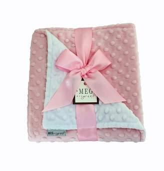 Minky MEG Original Pink and White Dot Baby Girl Blanket