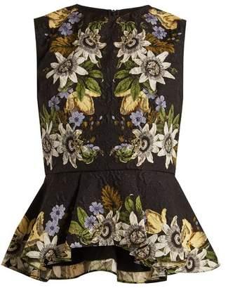 Erdem Queenie floral-print high-neck peplum top