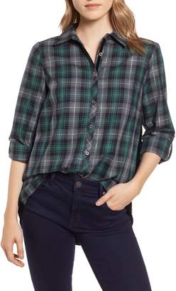 Wit & Wisdom Plaid & Embroidered Velvet Shirt