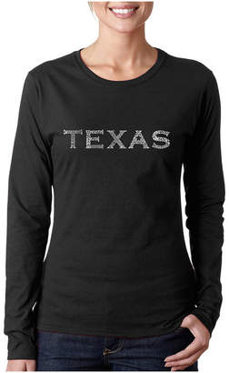 The Great LOS ANGELES POP ART Los Angeles Pop Art Cities Of Texas Long Sleeve Graphic T-Shirt