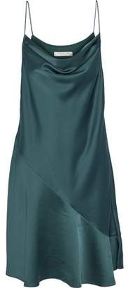 Halston Draped Chiffon-Paneled Satin-Crepe Dress