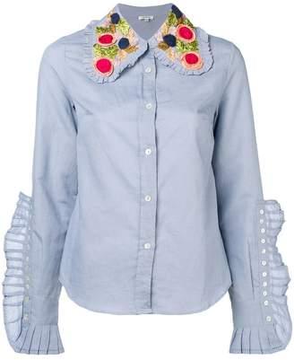 Manoush knife pleats embellished collar shirt
