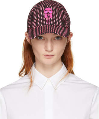 Fendi Black and Pink Karlito Polka Dot Cap