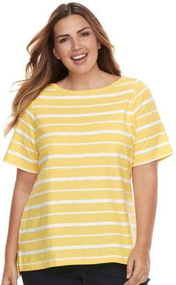 Croft & Barrow Plus Size Striped Embellished Boatneck Tee