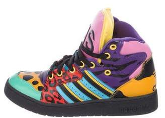 Jeremy Scott x Adidas Printed Leather High-Top Sneakers