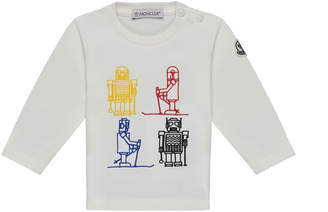 Moncler Long-Sleeve Robot Embroidered Top, White, Size 12M-3T