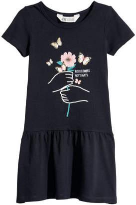 H&M Short-sleeved Jersey Dress - Blue