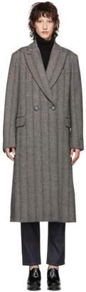 Stella McCartney Black and White Wool Herringbone Coat