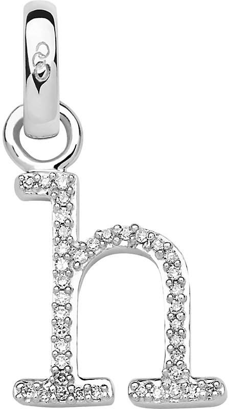 Alphabet H sterling silver and diamond charm