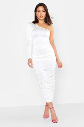451b5a5a3ad3 boohoo Long Sleeved Ruched One Shoulder Dress