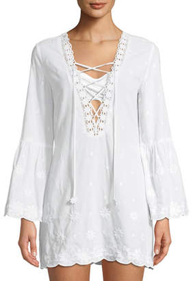 Miguelina Laure Daisy Embroidered Cotton Coverup