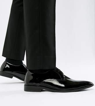 Frank Wright Wide Fit Derby Shoes In Patent Leather