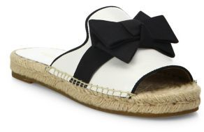 Michael Kors Collection Hawn Bow Leather Espadrille Slides